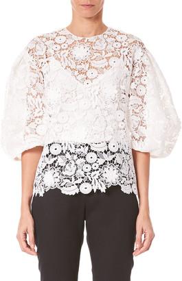 Carolina Herrera Lace Puff-Sleeve Blouse