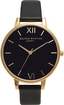 Olivia Burton Big Dial leather and yellow gold-plated watch