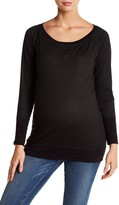 Everly Grey Maternity Scarlett Metallic Raglan Sleeve Pullover (Maternity)