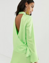 Asos Design DESIGN long sleeve neon top with wrap back detail in satin two-piece
