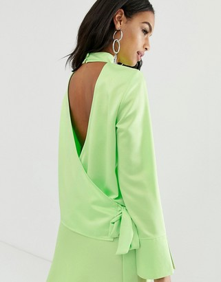 ASOS DESIGN long sleeve neon top with wrap back detail in satin two-piece