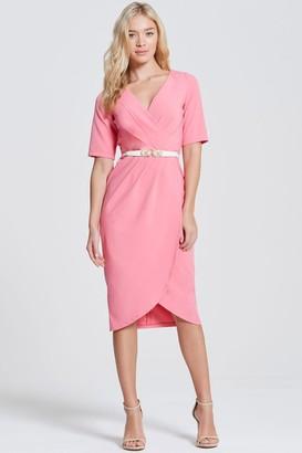 Paper Dolls Pink Wrap Midi Dress