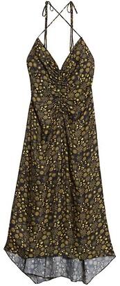Sandro Carolina Floral Ruched Midi Dress