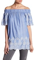 Pleione Denim Embroidery Off-the-Shoulder Shirt