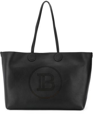 Balmain perforated logo tote bag
