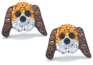 Giani Bernini Brown and White Pave Crystal Dog Face Stud Earrings set in Sterling Silver