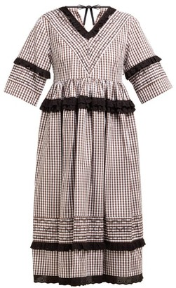 Molly Goddard Frank Cross-stitched Gingham Cotton Midi Dress - Womens - Brown