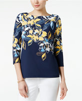 Charter Club Petite Floral-Print Boat-Neck Top, Only at Macy's