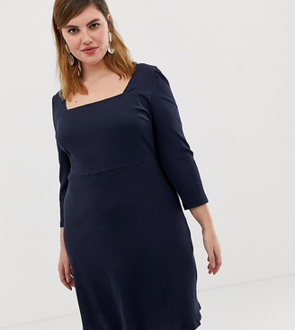 Glamorous Curve skater dress with square neck in rib-Navy