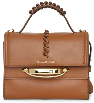 Alexander McQueen The Story whipstitch brown leather bag