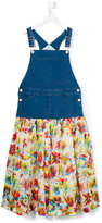 Junior Gaultier denim and chiffon dungaree Mini Me dress - kids - Cotton/Spandex/Elastane - 14 yrs