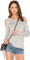 Bobi Marled Knit Cold Shoulder Top