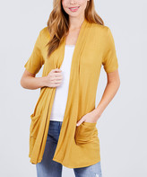 Lydiane Women's Open Cardigans YLW-cream - Cream Yellow Short-Sleeve Fitted Pocket Cardigan - Women