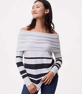 LOFT Striped Foldover Off the Shoulder Sweater