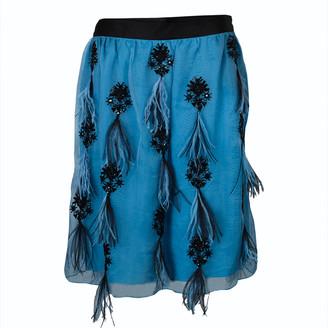 Prabal Gurung Blue Feather Detail Embellished Skirt L