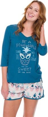 Munki Munki Pineapple Sassy Glasses Tee & Shorts Pajama Set