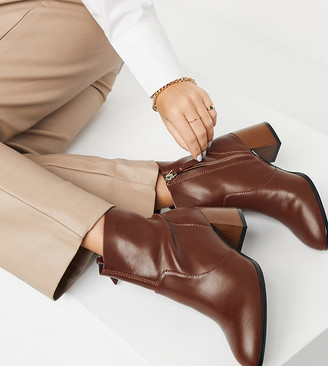 ASOS DESIGN Wide Fit Reporter heeled boots with flared wooden heel in tan