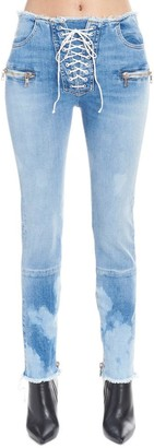Unravel Project Lace-Up Faded Skinny Jeans