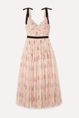 Needle & Thread Think Of Me Embellished Satin-trimmed Floral-print Tulle Midi Dress - Blush
