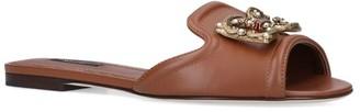 Dolce & Gabbana Leather Baroque Logo Slides
