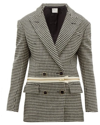 Hillier Bartley Detachable-hem Houndstooth Wool Jacket - Black Multi