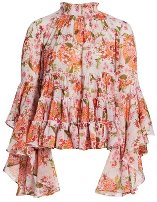 By Ti Mo Floral Chiffon Bell-Sleeve Top