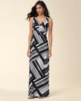 Soma Intimates Empire V-neck Sleeveless Maxi Dress Standout Stripe Black RG
