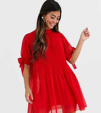 Asos DESIGN Petite pleated trapeze mini dress with tie sleeves-Red