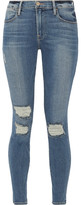 Frame Le High Skinny Distressed Jeans - Blue