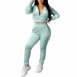 Koitniecer Womens Tracksuits Velour Sweatsuit Loungewear Zip Up Hoodie Cropped Tops and Jogging Bottoms Sportwear 2 Piece Joggers Set (Apricot L)