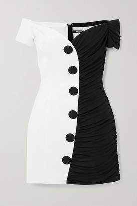 Balmain Off-the-shoulder Two-tone Crepe Mini Dress - Black