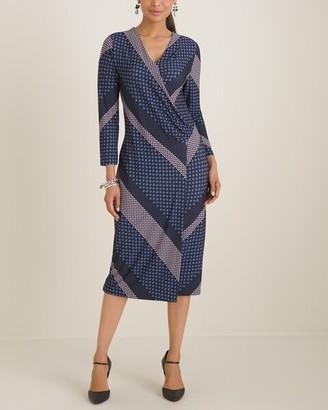 Chico's Chicos Foulard Striped Surplice Wrap Dress