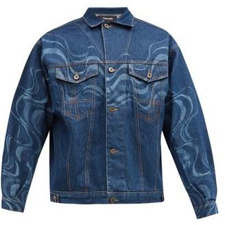 Ahluwalia Wave-print Upcycled Cotton-denim Jacket - Blue