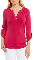Investments Petites Roll Sleeve Grommet Y-Neck Popover Top