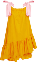 MSGM Crisp Poplin Strapless Dress With Pink Ties