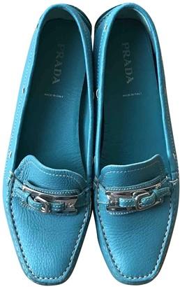 Prada Turquoise Leather Flats