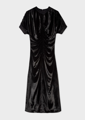 Women's Black Silk-Blend Ruched Dress