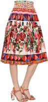 Dolce & Gabbana Floral Printed Cotton Poplin Midi Skirt