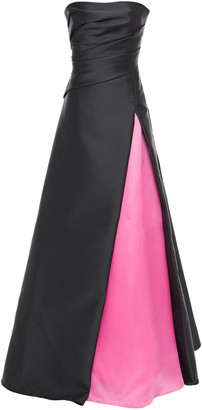 Carolina Herrera Pleated Two-tone Duchesse-satin And Taffeta Gown