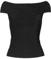 Herve Leger Francesca Off-the-shoulder Bandage Top - Black