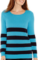 Liz Claiborne Long-Sleeve Striped Stitch Sweater