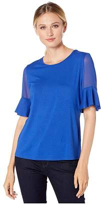 Vince Camuto Flutter Sleeve Mix Media Top w/ Chiffon Inset Blouse