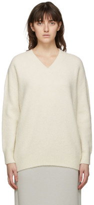 MAX MARA LEISURE White Alpaca Eligio V-Neck Sweater