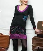 Aller Simplement Black & Purple Starburst V-Neck Dress