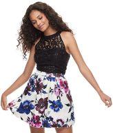Speechless Juniors' Sequin Floral 2-Piece Dress