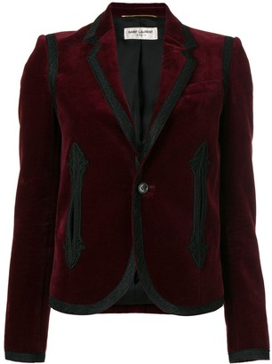 Saint Laurent Boxy Embroidered Velvet Blazer