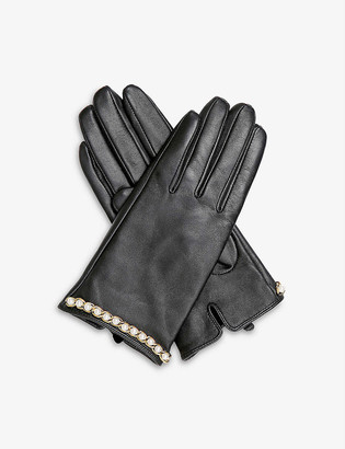Dents Faux-pearl embellished leather gloves