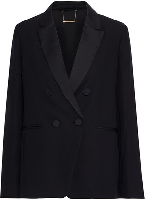 Frame Tux Double-breasted Satin-trimmed Crepe Blazer
