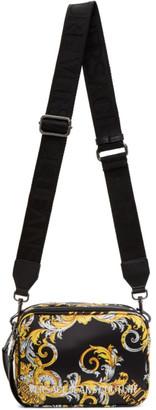 Versace Jeans Couture Black Logo Baroque Camera Bag