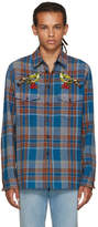 Gucci Multicolor Embroidered Check Bird Shirt